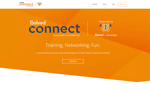 Screenshot of the connect conference website home page