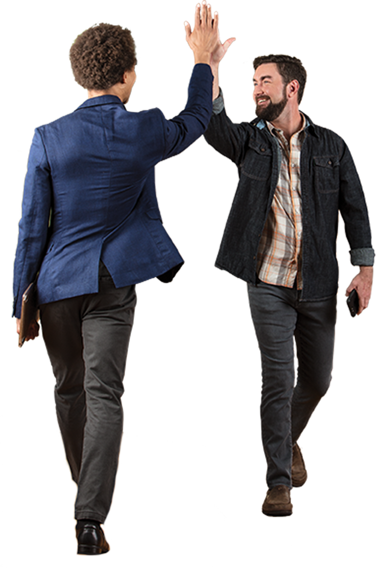 two men high-fiving